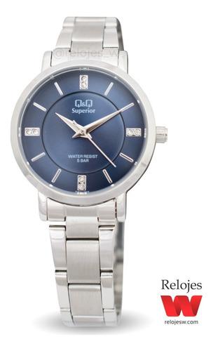 reloj q&q mujer cs01j802y plateado azul