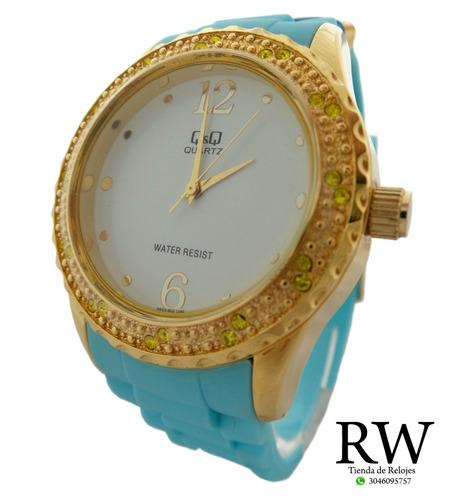 reloj q&q mujer q833j803y dorado celeste