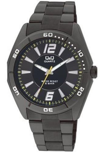 reloj q&q q470j402y análogo negro para hombre