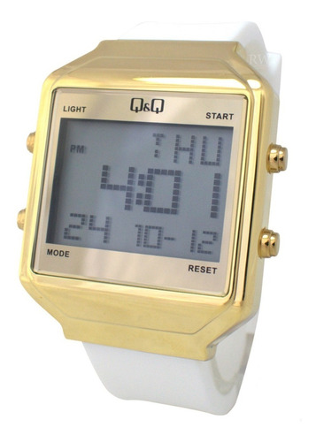 reloj q&q unisex m155j803y blanco dorado