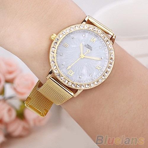 reloj quartz elegante pantalla de cuarzo correa dorada