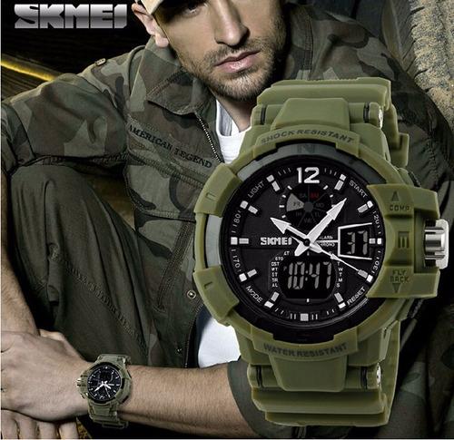 reloj quarzo skmei 1040 verde militar sumergible