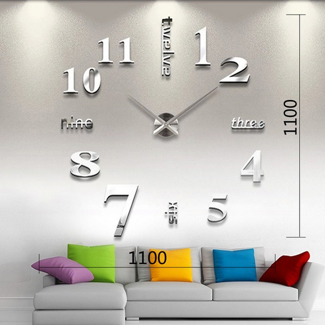 Reloj real pared gigante120cm3d plata espejo sala minimal en mercado libre - Reloj de pared gigante ...