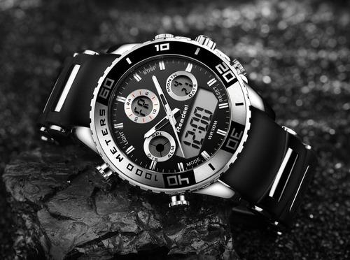 reloj redondo digital y mecanico led de cuarzo hombre