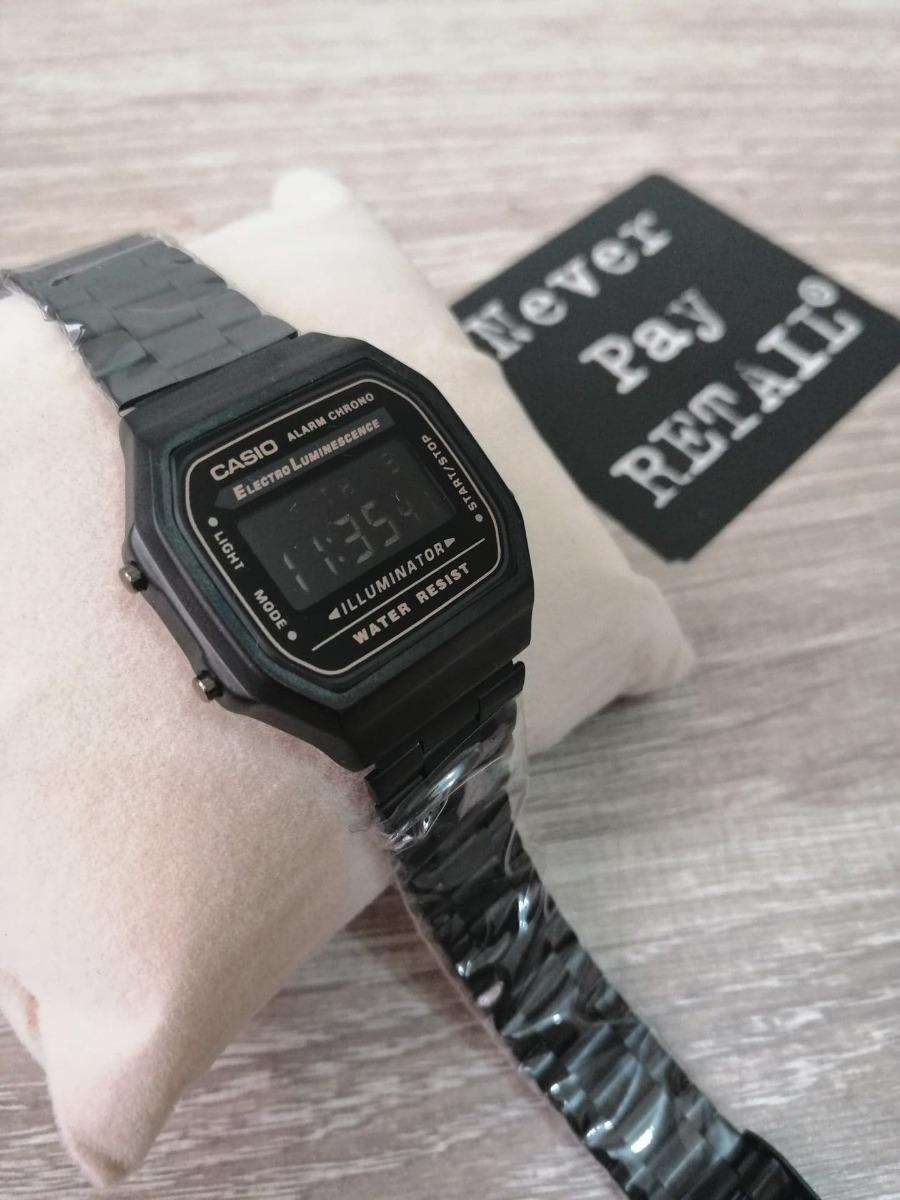6e0d725be147 Reloj Retro A168w Dama New All Black Clasico Negro Envio -   44.990 ...
