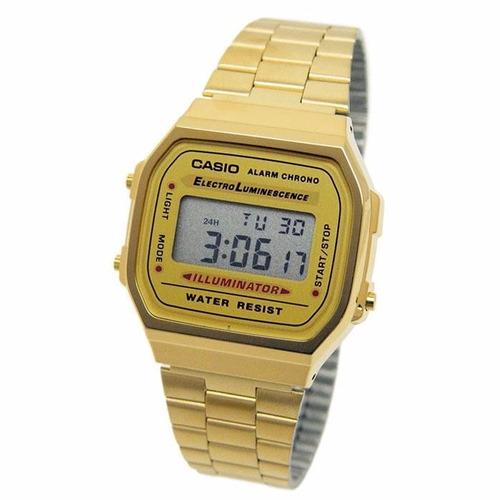 reloj retro casio dorado gold a168wg