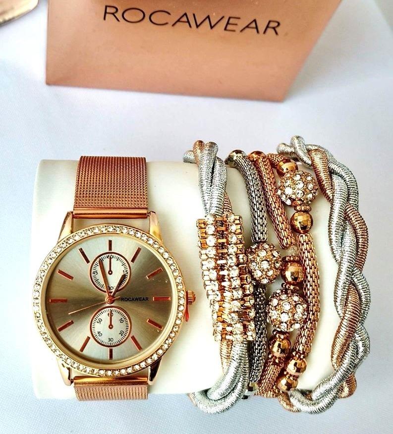 7d4a00444a3d reloj rocawear nuevo original dama con pulceras color cobre. Cargando zoom.