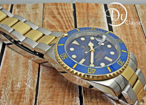 reloj role submariner combinado azul / oro + envio gratis