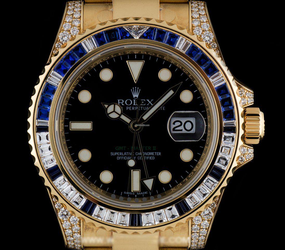 121f9c459893 reloj rolex 18k y g diamond   sapphire gmt-master ii nos b p. Cargando zoom.