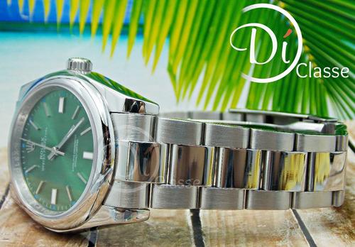 reloj rolex date just acero /verde cristal zafiro