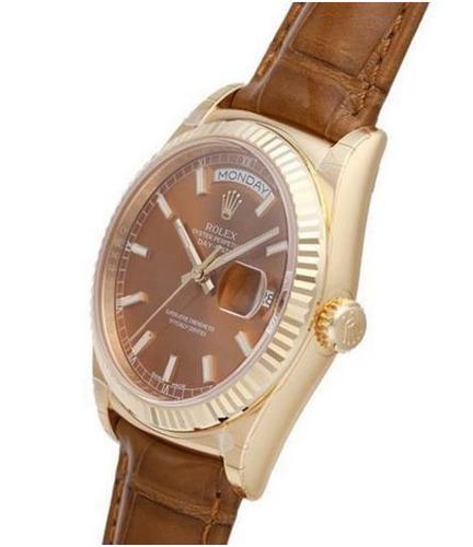 reloj rolex day-date 36 18 kt gelbgold leder 118138 cognac