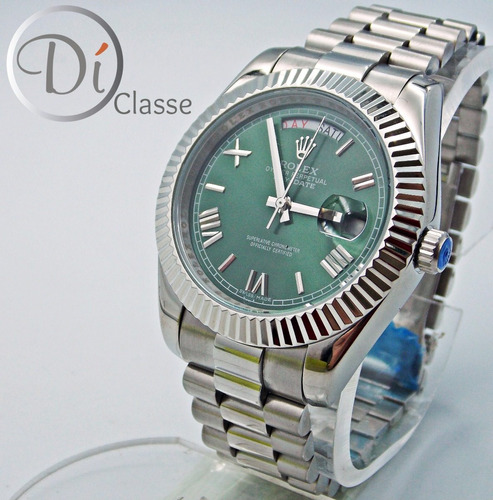 reloj rolex day date acero en verde