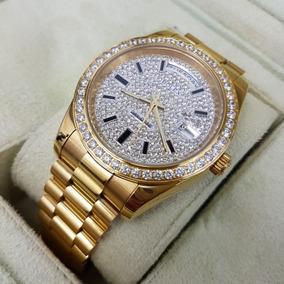 Rolex Date Amarillo Reloj Oro Day Aut Diamantes Dial Negro E9DHIW2Y