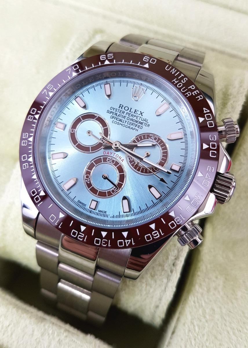 442eaca0355 Reloj Rolex Daytona Acero Esfera Azul Y Bisel Cafe Automatic ...