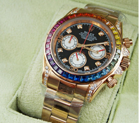 Con Acero Arcoiris Reloj Caja Daytona Rosa Rolex Oro NOnmwv80