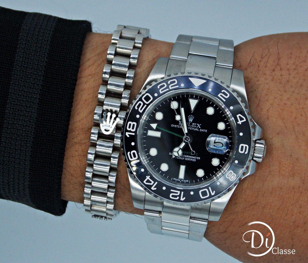07bc9afcdae Reloj Rolex Gmt Master Ii Black Con Autentico Cristal Zafiro ...