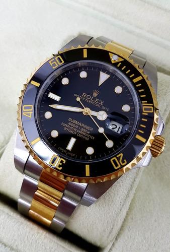 reloj rolex submariner acero oro amarillo y cara negra aut