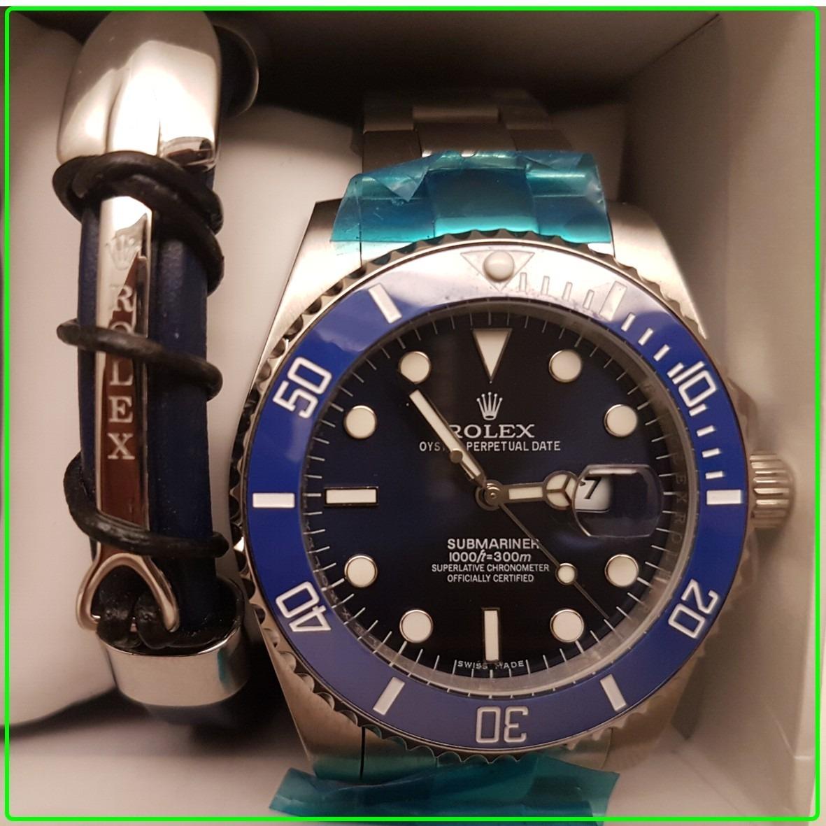 de1c3b291da Reloj Rolex Submariner Azul Platedo + Pulsera Rolex Juego -   6.999 ...