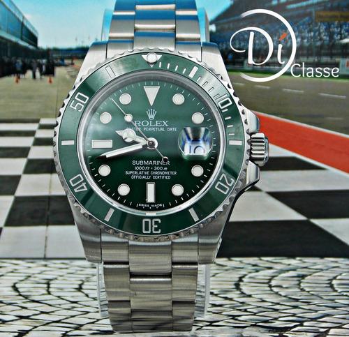 reloj rolex submariner green con autentico cristal zafiro
