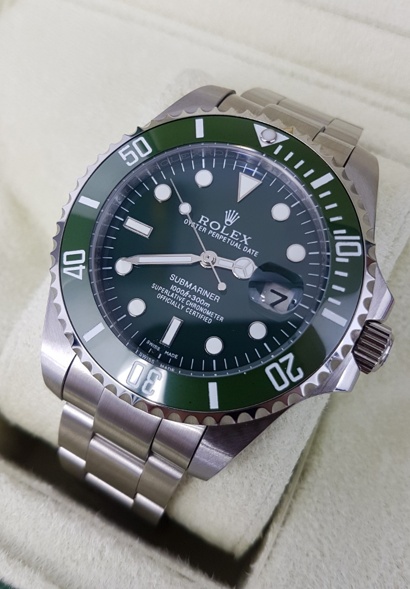 a8a09632a1f Reloj Rolex Submariner Hulk Acero Y Esfera Verde Automatico ...