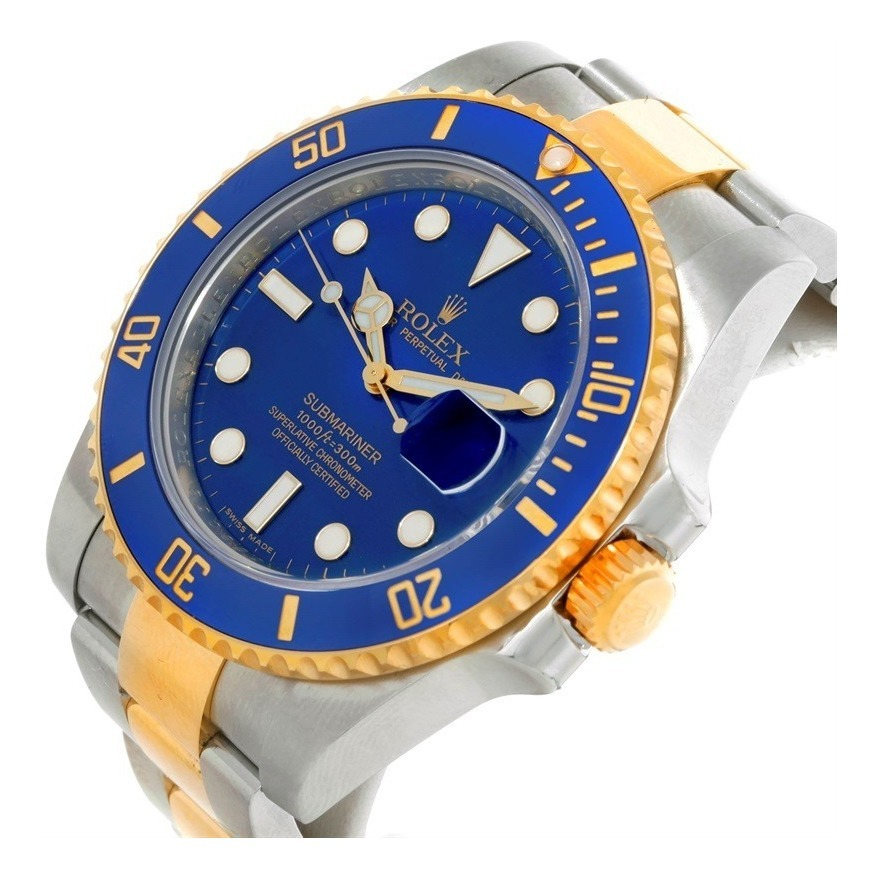 18k Gold Yellow Ceramic Steel Rolex Blue Reloj Submariner dCxWrBoe