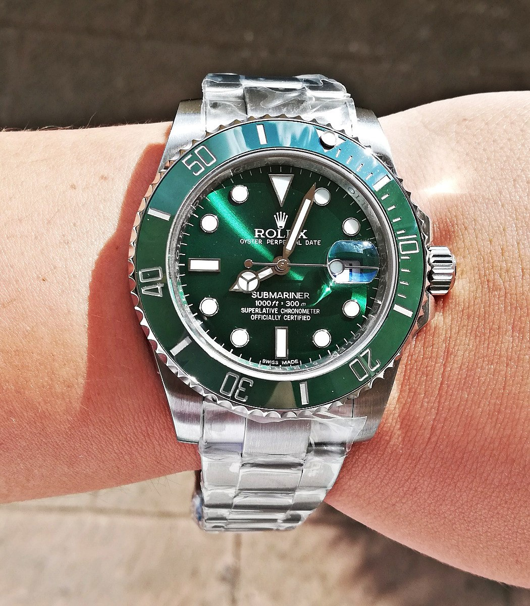 Rolex Cristal Automatic Reloj Submariner Verde Hulk Zafiro lT1KJFc3