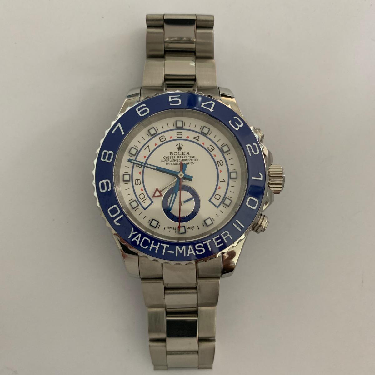 Plateado Rolex Azul Automatico Master Reloj Ii Yacht 242r CxdoBe