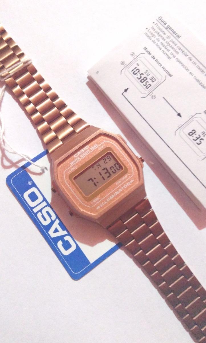 bc00ed7dd674 Reloj Rosa Mate A168 Rose Gold Cobre Instructivo Gratis Retr ...