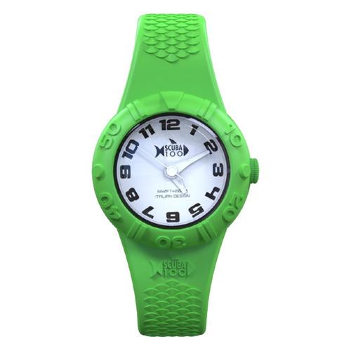 reloj scuba 100 italian design - verde fondo blanco
