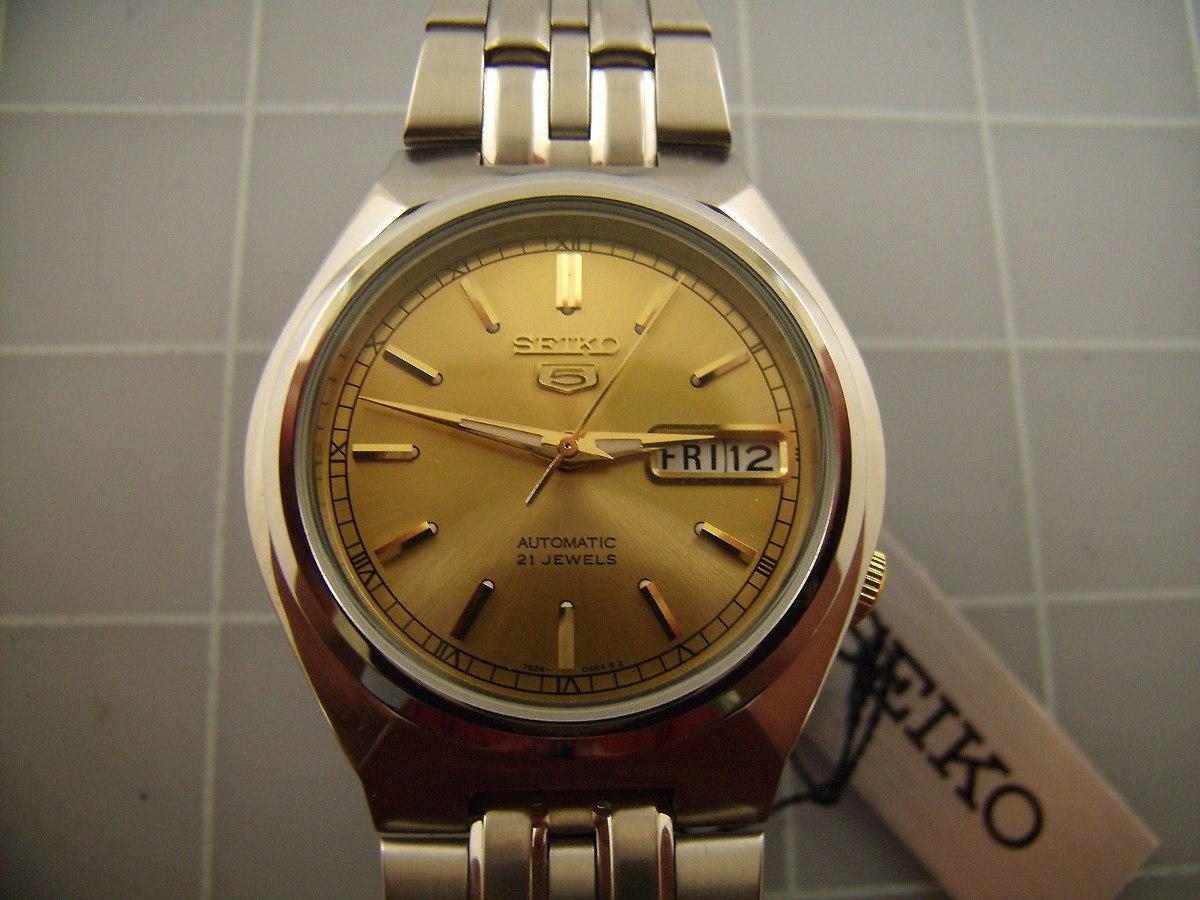 4ddeda883e43 reloj seiko 5 automatico dial dorado esqueleton back acero. Cargando zoom.