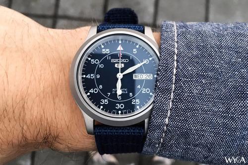 reloj seiko 5 automatico militar snk807 azul original 100%