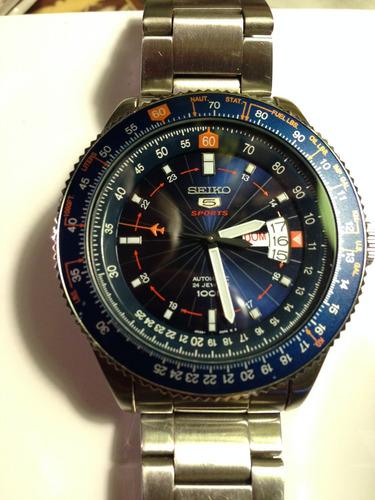 reloj seiko 5 sport  automatico aviator 100 mts 24 rubies