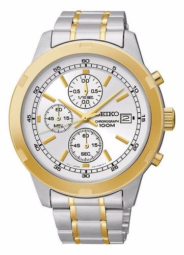 reloj seiko acera inoxidable blanco cronografo sks432