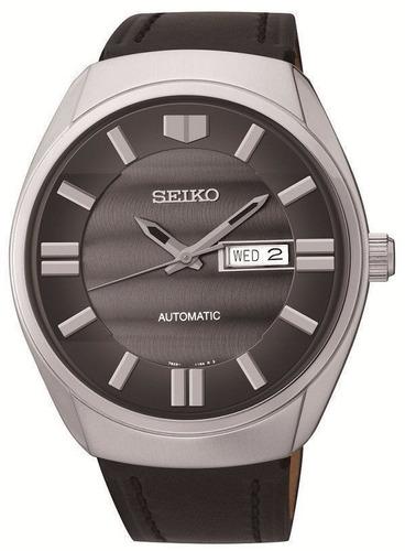 reloj seiko automático acero inoxidable piel negra snkn07