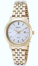 reloj seiko dama gold sur792 calendario dorado  wr50m garant