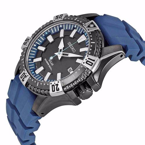 reloj seiko divers solar negro caucho azul sne283