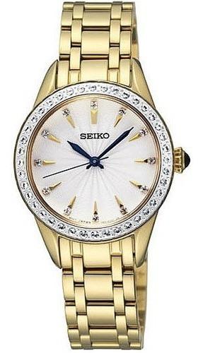 reloj seiko dorado de dama y piedras srz386