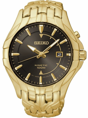 reloj seiko excelsior kinetic dorado acero cafe ska586