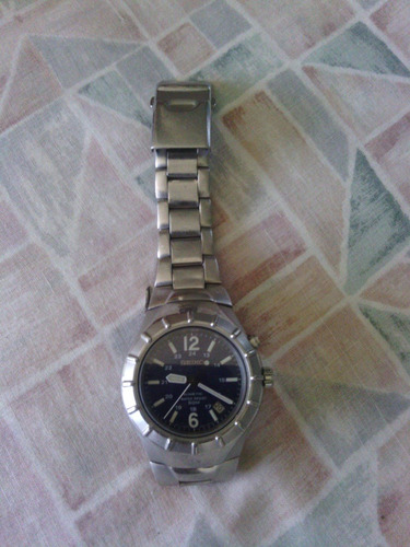 reloj seiko kinetic blue black dial modelo 54m2 1990-1999