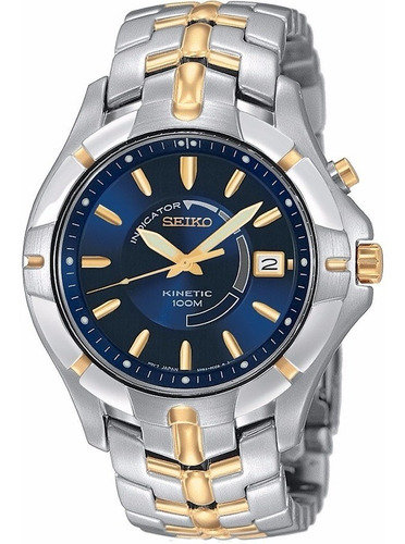 reloj seiko kinetic doble tono a inoxidable ska402
