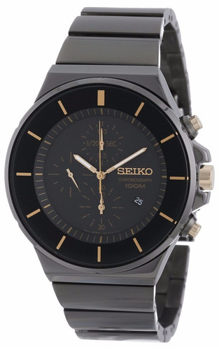 reloj seiko new collection classic acero negro crono sndd57