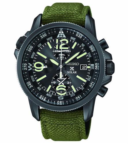 reloj seiko prospex solar cronógrafo canvas verde ssc295
