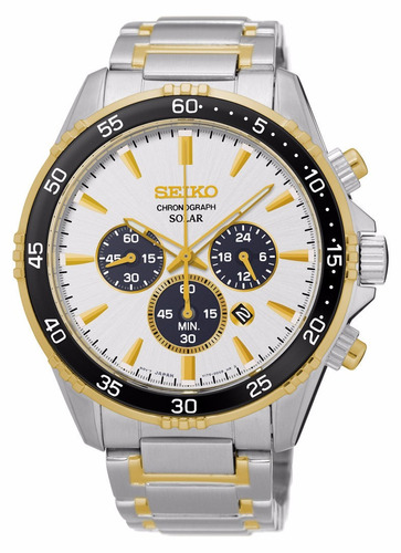 reloj seiko solar acero 2 tonos cronógrafo hombre ssc446