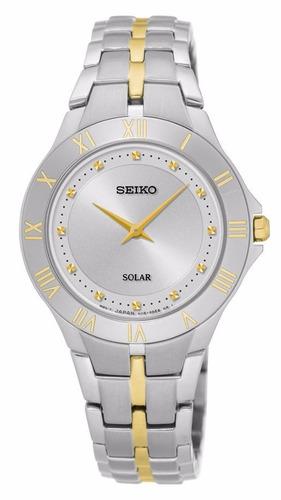 reloj seiko solar acero inoxidable 2 tonos mujer sup308