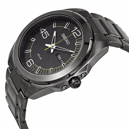 reloj seiko solar acero inoxidable negro analogo sne275