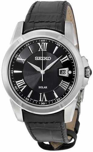 reloj seiko solar acero inoxidable piel zafiro hombre sne397