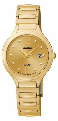 reloj seiko solar acero inoxidable tono dorado mujer sut180