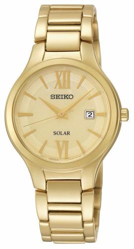 reloj seiko solar acero inoxidable tono dorado mujer sut212