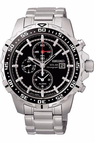 reloj seiko solar alarm acero inoxidabe negro ssc299p1
