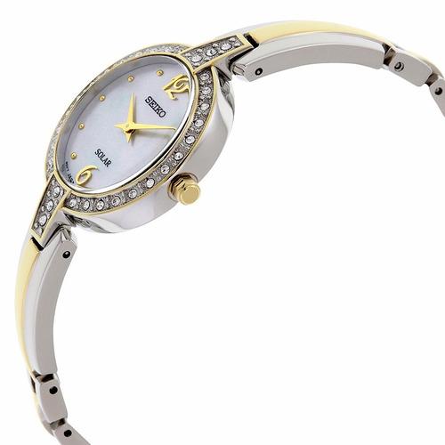 reloj seiko solar crystal acero 2 tonos mujer sup288